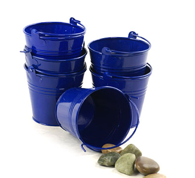Round Mini Pail Galvanized 4 inch Royal Blue