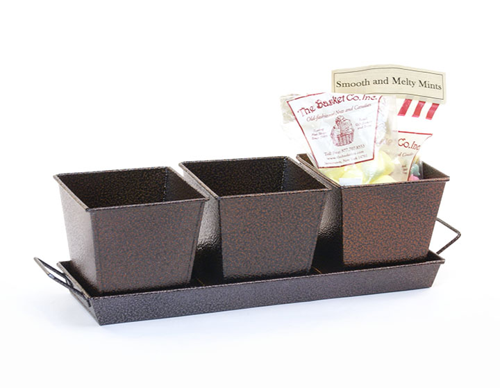 Herb Container Set - 3 Pots + Tray - Brown
