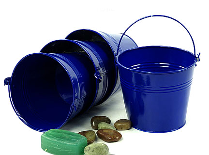 Round Pail Galvanized 6 inch Royal Blue