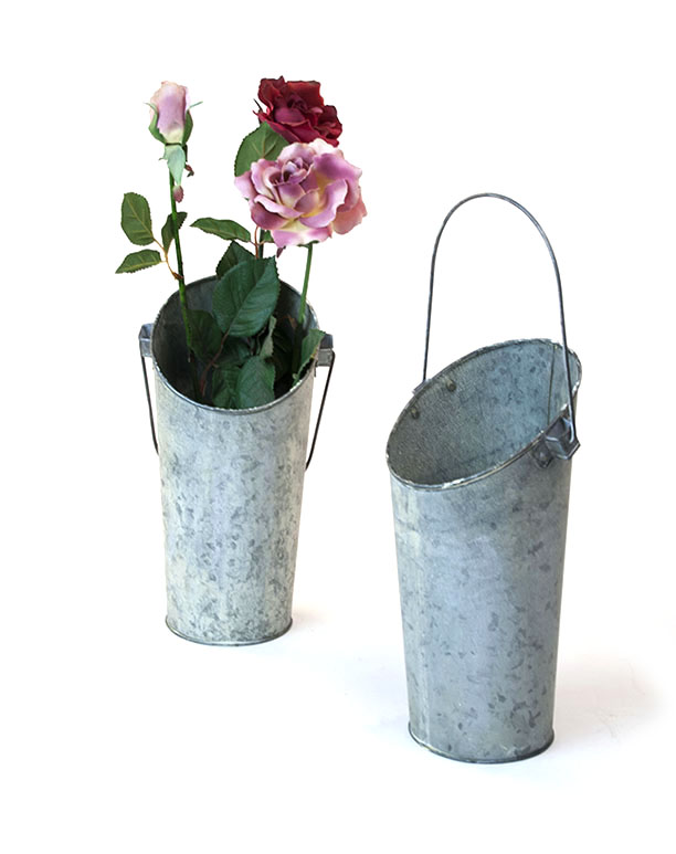 French Bucket Vase Wall pocket Pail Vintage Galvanized