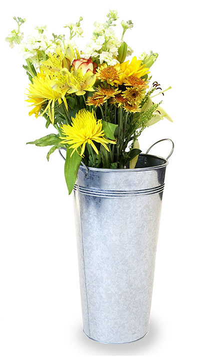 French Bucket Vase 15 inch Tall Galvanized
