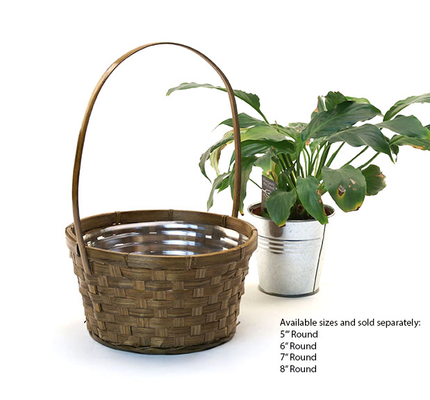 Stained Bamboo Shop Basket 7 inch