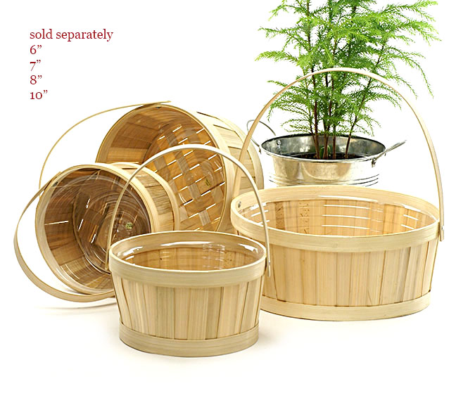 Round Bamboo Shop Basket with Folding Handle 10 inch