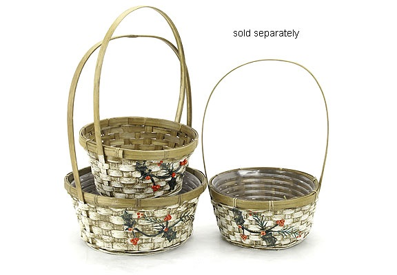 Bamboo Basket with Holly Resin Ornament 12 inch