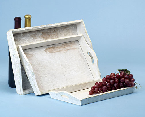 Wooden Rectangle Tray set of 3 White Wash